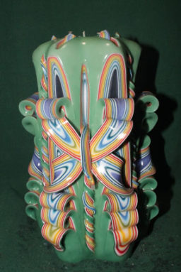 Carved - Reverse Rainbow Green Shell Bow 8in